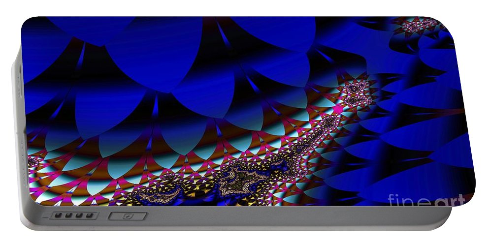 Blue Leaf Portable Battery Charger featuring the digital art Blue Leaf by Ron Bissett
