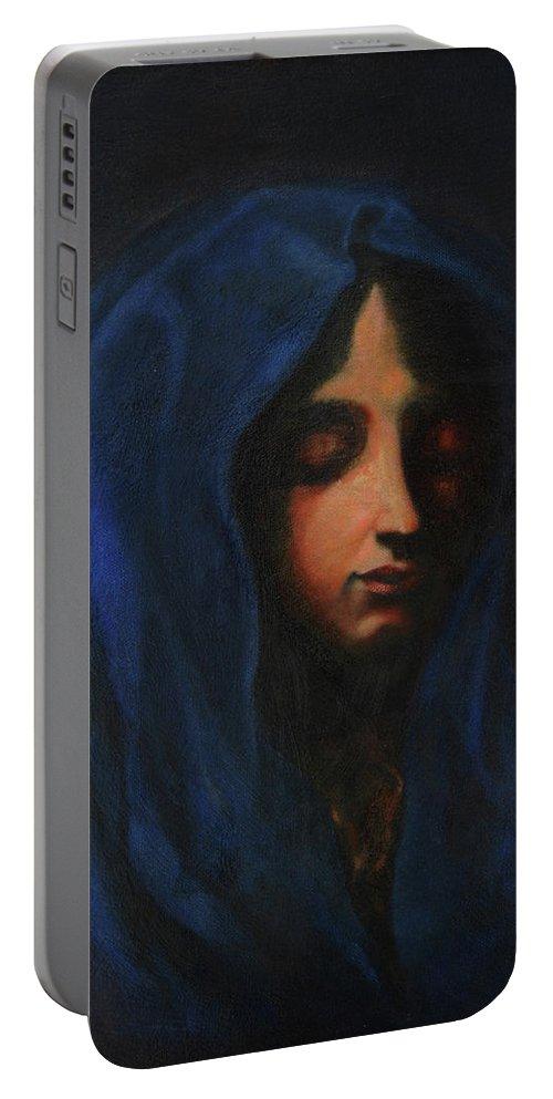 Dolci Carlo Portable Battery Charger featuring the painting Blue Madonna by MotionAge Designs