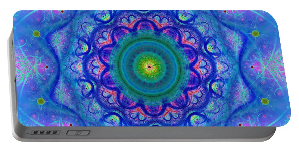Blue; Mandala; Square; Tile; Regular; Repeat; Mirroring; Symmetrical; Turquoise; Green; Yellow; Pink; Flower; Floral; Abstract; Geometry; Chaos; Beautiful; Design; Art; Style; Pure; Shade; Gradient; Fashionable; Scarf; Boho; Heart Chakra; Spirituality Portable Battery Charger featuring the digital art Blue Mandala For Heart Chakra by Lenka Rottova