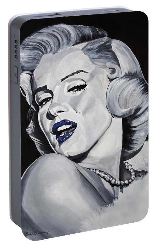 Marilyn Portable Battery Charger featuring the painting Blue Marilyn by Brian Broadway