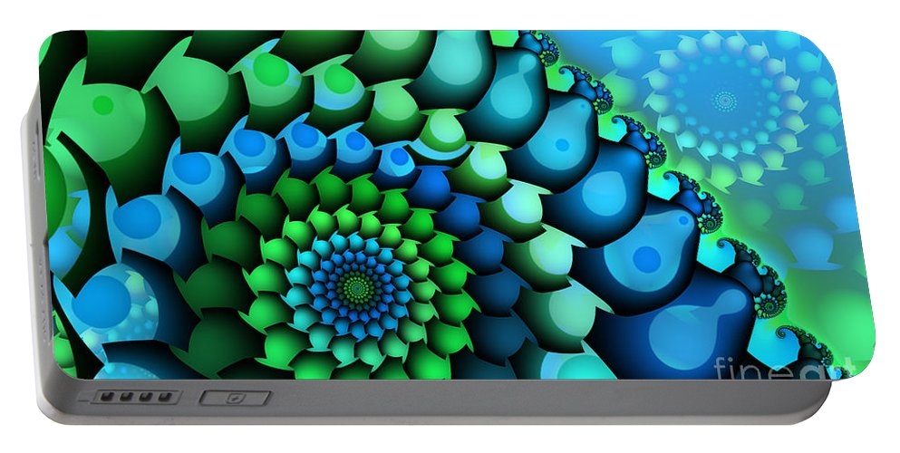 Fractal Portable Battery Charger featuring the digital art Blue Meets Green by Jutta Maria Pusl