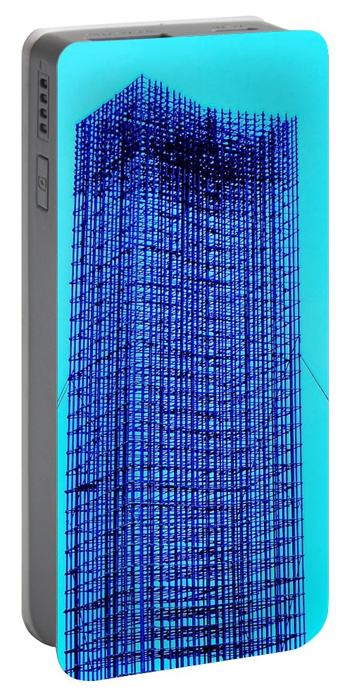 Metal Portable Battery Charger featuring the painting Blue Metal Mesh by Eric Schiabor