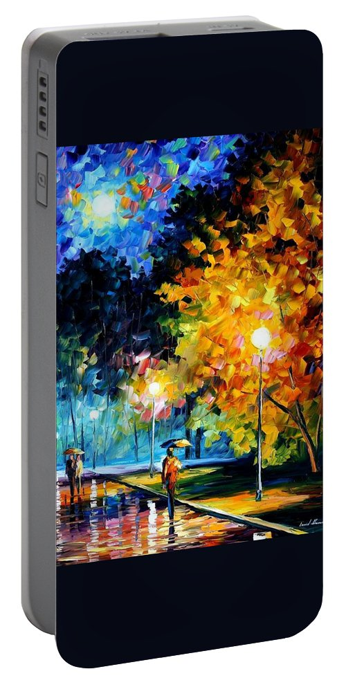 Afremov Portable Battery Charger featuring the painting Blue Moon by Leonid Afremov