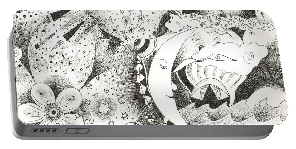 Surreal Portable Battery Charger featuring the drawing Blue Moons And Tidbits by Helena Tiainen