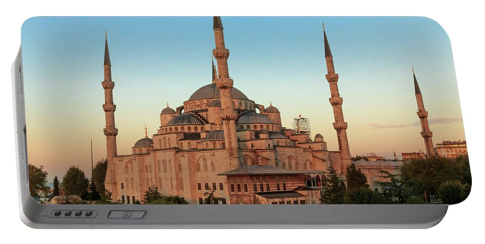 Asia Portable Battery Charger featuring the photograph Blue Mosque Blue Hour by Emily M Wilson