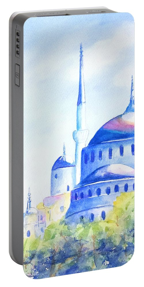 Istanbul Portable Battery Charger featuring the painting Blue Mosque Istanbul Turkey by Carlin Blahnik CarlinArtWatercolor