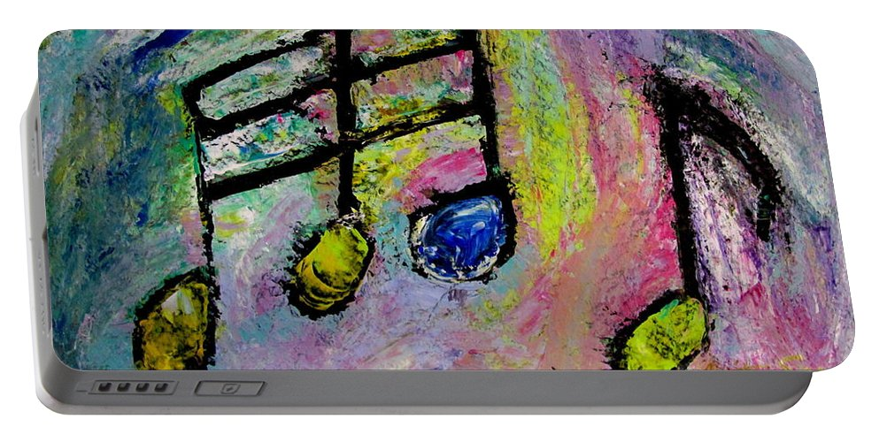 Impressionist Portable Battery Charger featuring the painting Blue Note by Anita Burgermeister