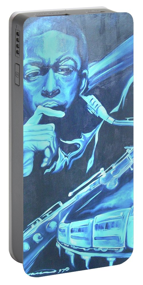 Jazz Portable Battery Charger featuring the painting Blue Note by Hasaan Kirkland