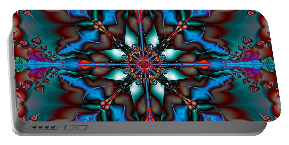 Abstract Portable Battery Charger featuring the digital art Blue On Blue by Jim Pavelle
