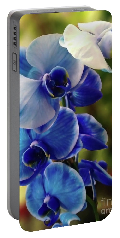 Blue Orchid Portable Battery Charger featuring the digital art Blue Orchid by Jasna Dragun