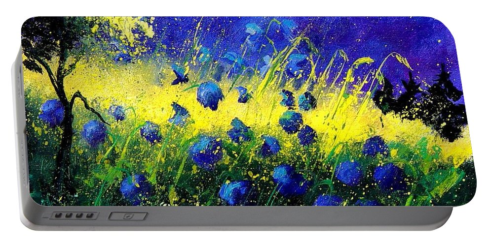 Flowers Portable Battery Charger featuring the painting Blue Poppies by Pol Ledent
