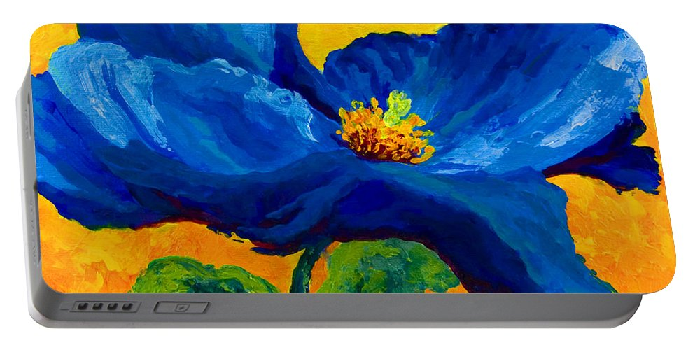 Poppies Portable Battery Charger featuring the painting Blue Poppy by Marion Rose