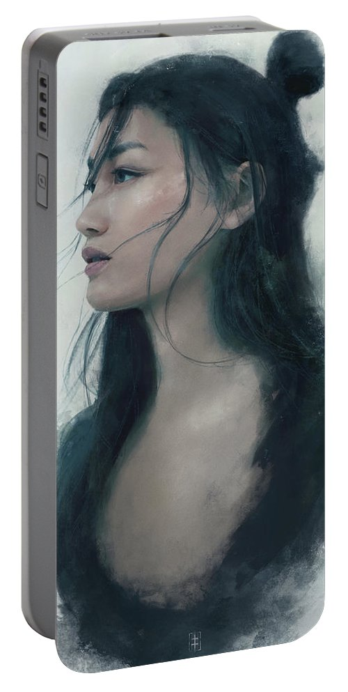 Warrioress Portable Battery Charger featuring the painting Blue Portrait by Eve Ventrue