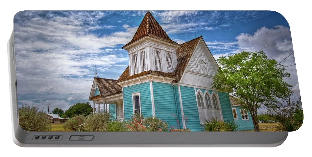Church Scene Portable Battery Charger featuring the photograph Blue Prairie Church by Linda Unger