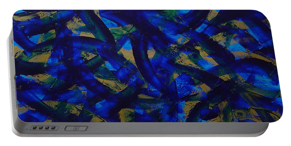 Abstract Portable Battery Charger featuring the painting Blue Pyramid by Dean Triolo