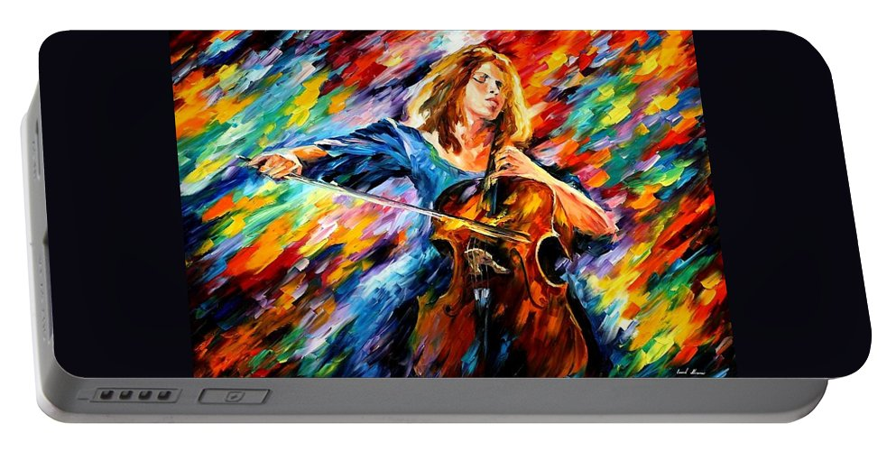 Afremov Portable Battery Charger featuring the painting Blue Rhapsody by Leonid Afremov