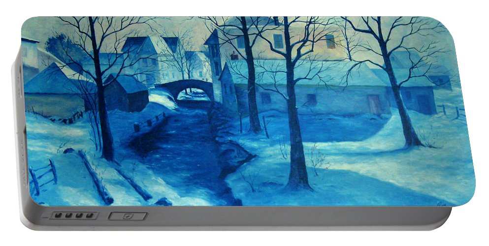 Art Portable Battery Charger featuring the painting Blue by Richard T Pranke