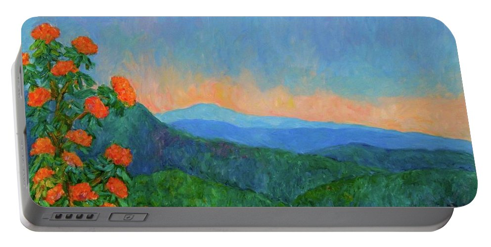 Kendall Kessler Portable Battery Charger featuring the painting Blue Ridge Morning by Kendall Kessler