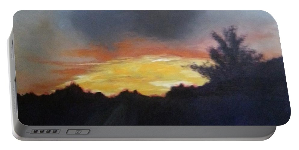 Landscape Portable Battery Charger featuring the painting Blue Ridge Sunrise by Ken Farnsworth