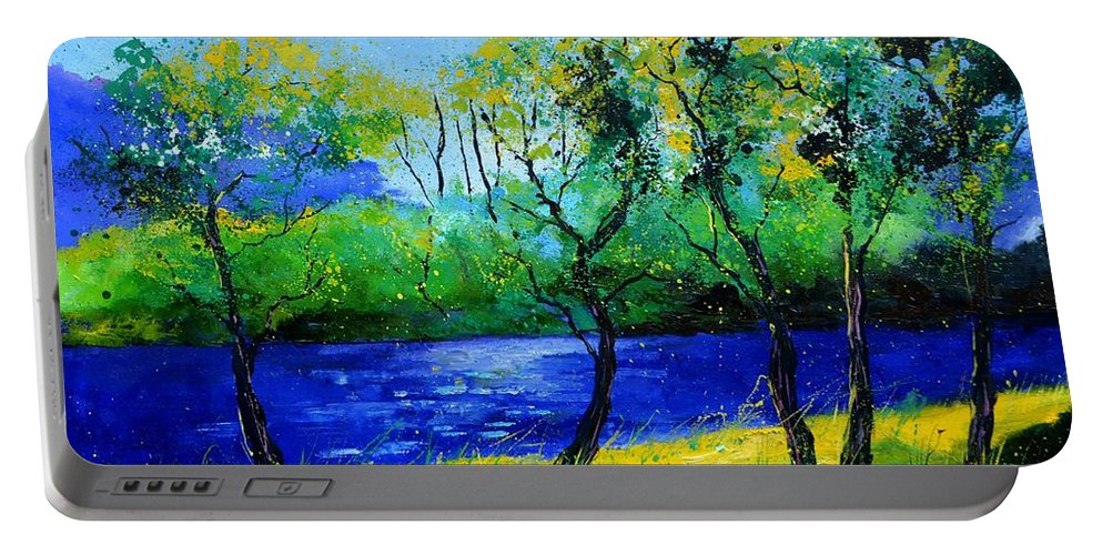 Landscape Portable Battery Charger featuring the painting Blue river by Pol Ledent