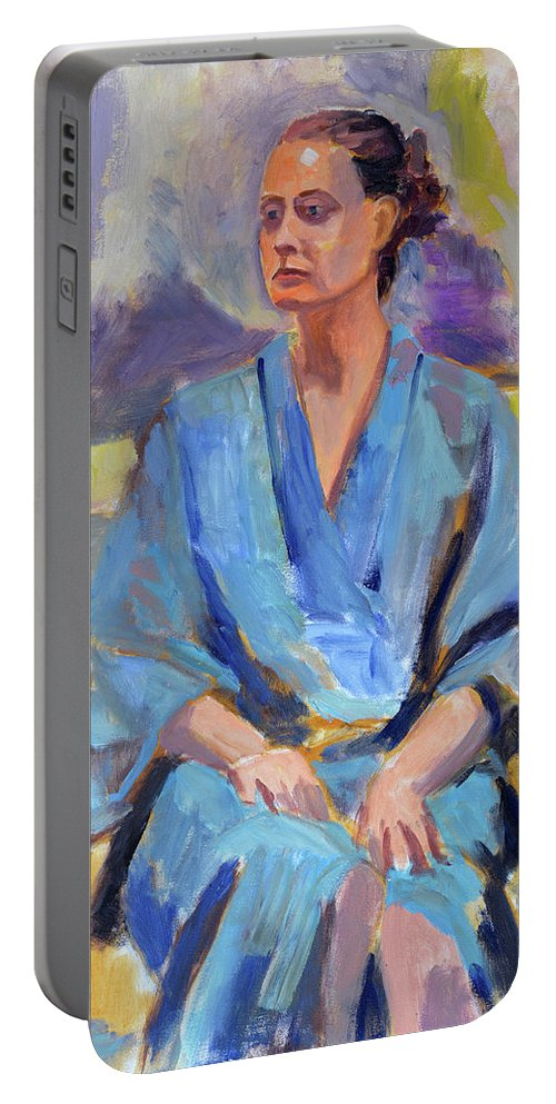 Figure Portable Battery Charger featuring the painting Blue Robe by Keith Burgess