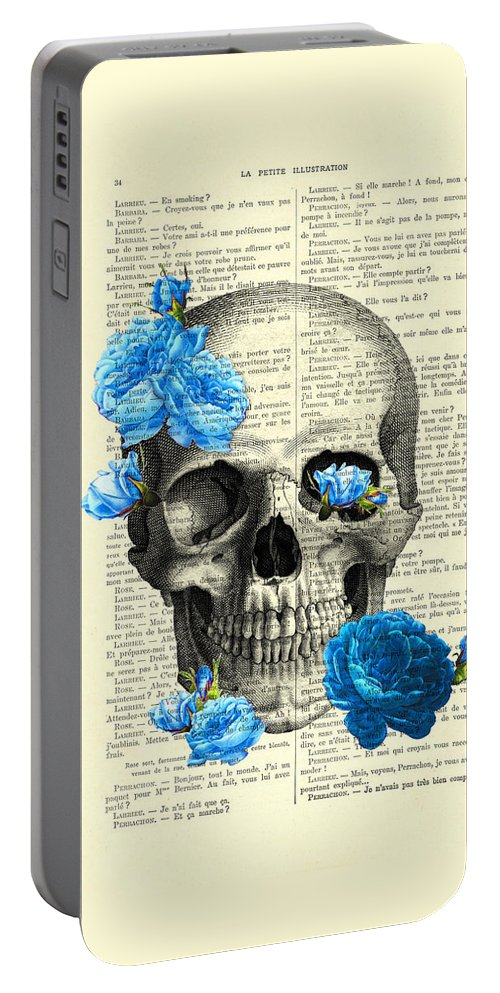 Rose Portable Battery Charger featuring the digital art Blue Roses With Skull Art Print by Madame Memento