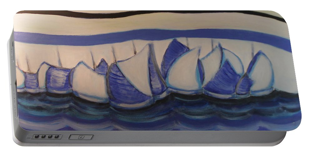 Sailing Boats Portable Battery Charger featuring the painting Blue Sailing Boats In The Harbour by BERANIC Lovro