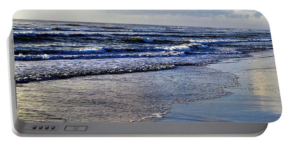 Beach Picture Portable Battery Charger featuring the photograph Blue Sea by Judy Bugg Malinowski