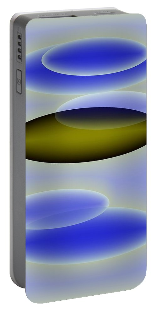 Blue. Shapes Portable Battery Charger featuring the digital art Blue Shapes by Helmut Rottler