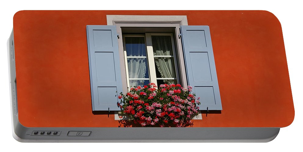 Red Portable Battery Charger featuring the photograph Blue Shutters by Tom Reynen
