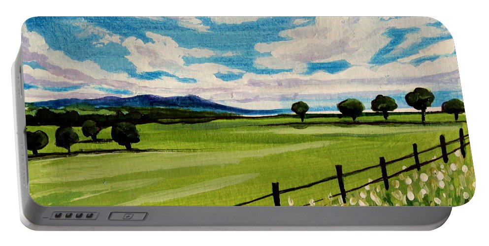 Landscape Portable Battery Charger featuring the painting Blue Skies by Elizabeth Robinette Tyndall