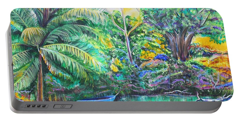 Lagoon Portable Battery Charger featuring the painting Blue Skiff by Patricia Piffath