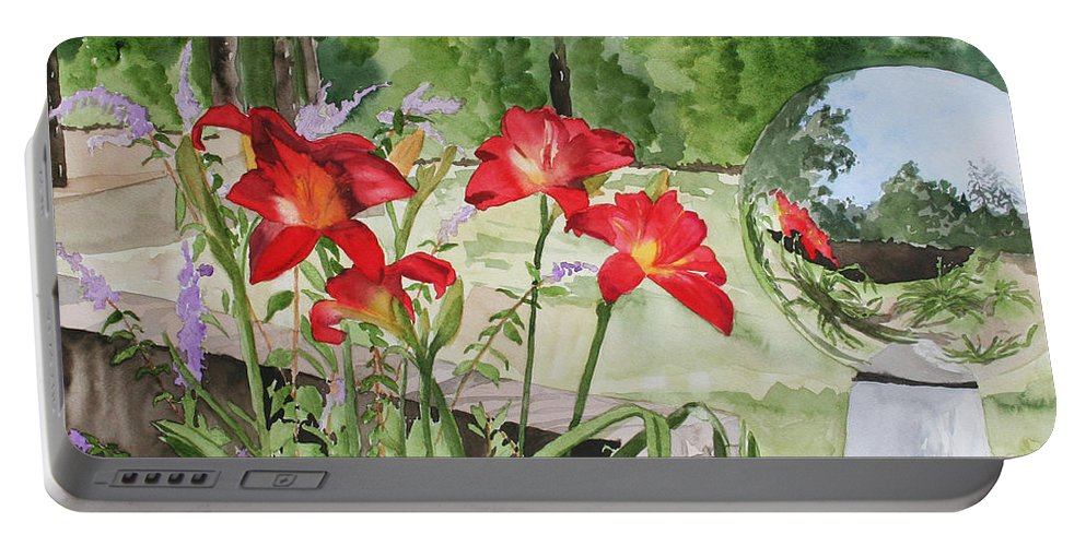Flowers Portable Battery Charger featuring the painting Blue Sky Reflections by Jean Blackmer