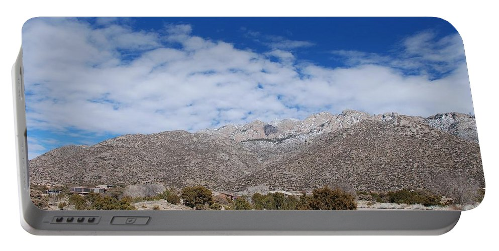 Sandia Mountains Portable Battery Charger featuring the photograph Blue Skys Over The Sandias by Rob Hans