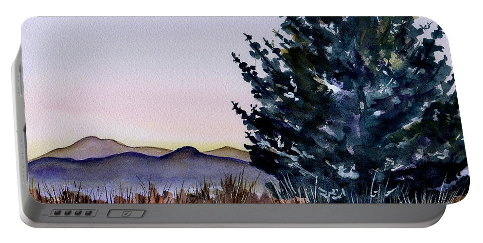 Watercolor Portable Battery Charger featuring the painting Blue Spruce by Brenda Owen