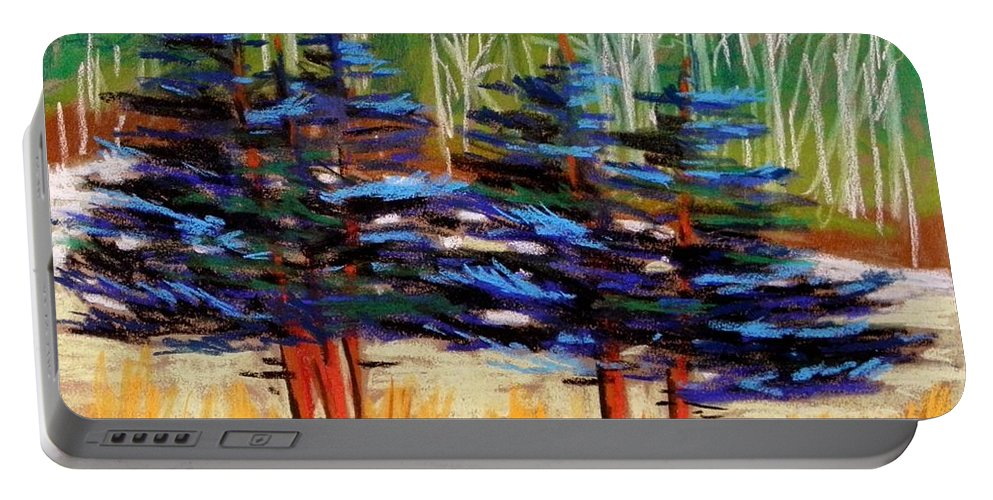 Blue Spruce Portable Battery Charger featuring the drawing Blue Spruce Stand by John Williams