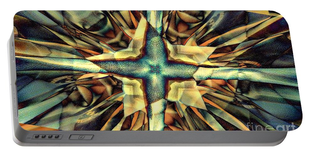 Abstract Portable Battery Charger featuring the digital art Blue Star by Ron Bissett