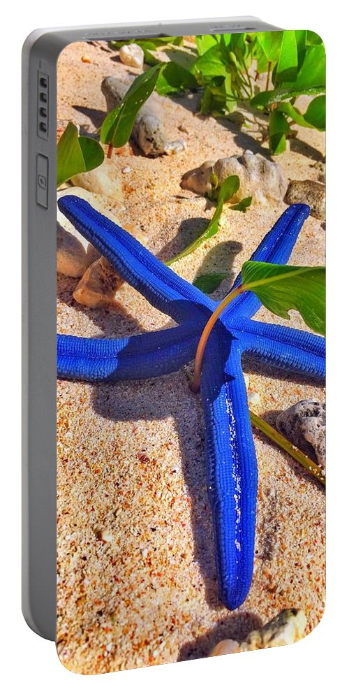 Blue Portable Battery Charger featuring the photograph Blue Starfish by Jade Phoenix