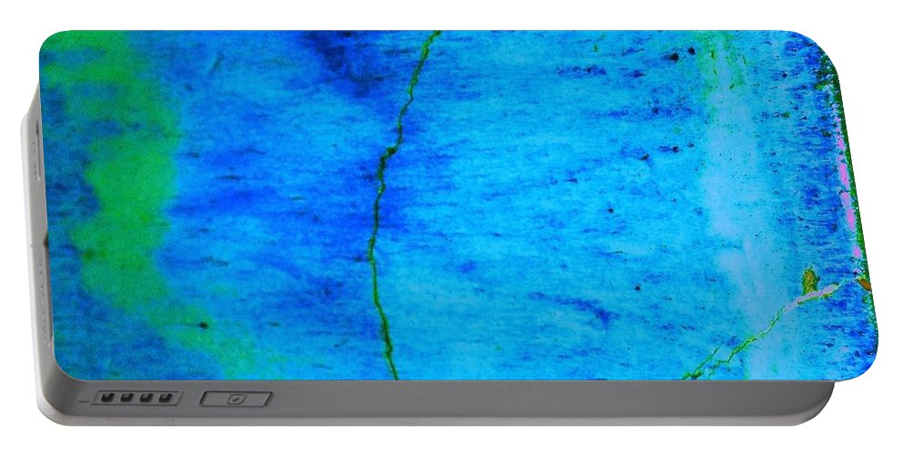 Abstract Portable Battery Charger featuring the photograph Blue Stone Abstract by Eric Schiabor