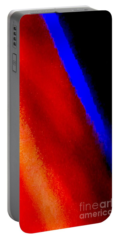 Abstract Portable Battery Charger featuring the photograph Blue Streak 1 by Ken Lerner