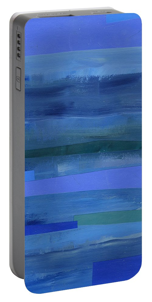 Abstract Art Portable Battery Charger featuring the painting Blue Stripes 1 by Jane Davies