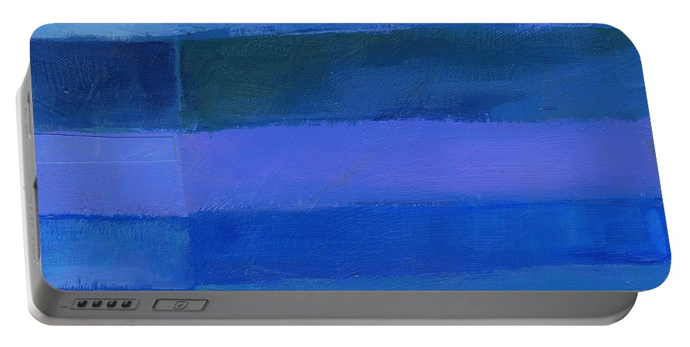 Abstract Art Portable Battery Charger featuring the painting Blue Stripes 2 by Jane Davies