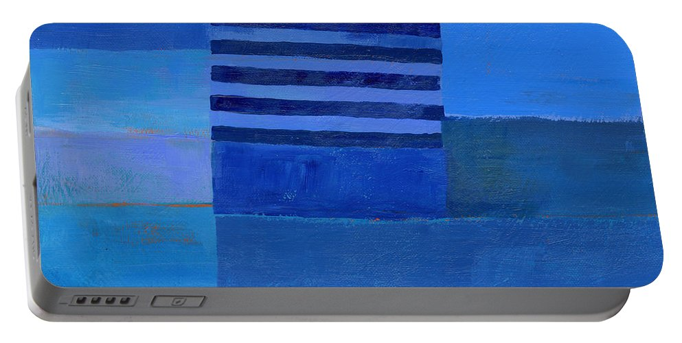 Abstract Art Portable Battery Charger featuring the painting Blue Stripes 7 by Jane Davies