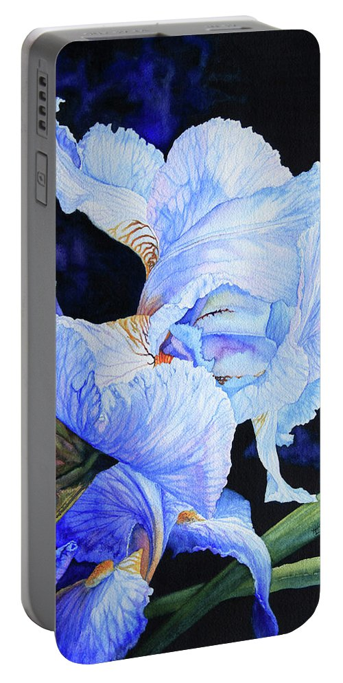 Floral Painting Portable Battery Charger featuring the painting Blue Summer Iris by Hanne Lore Koehler