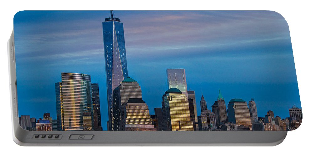 Nyc Portable Battery Charger featuring the photograph Blue Sunset At The World Trade Center by Eleanor Abramson