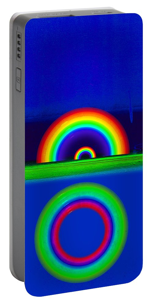 Rainbow Portable Battery Charger featuring the painting Blue Sunset by Charles Stuart