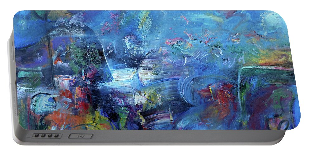 Modern Art Portable Battery Charger featuring the painting 		Blue Theme No.1			 by Constantin Galceava