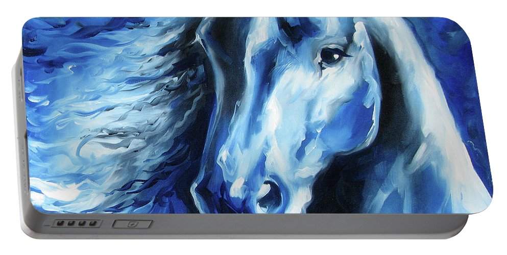 Horse Portable Battery Charger featuring the painting Blue Thunder by Marcia Baldwin