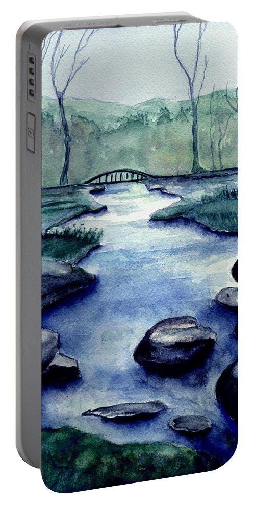Watercolor Portable Battery Charger featuring the painting Blue Tranquility by Brenda Owen