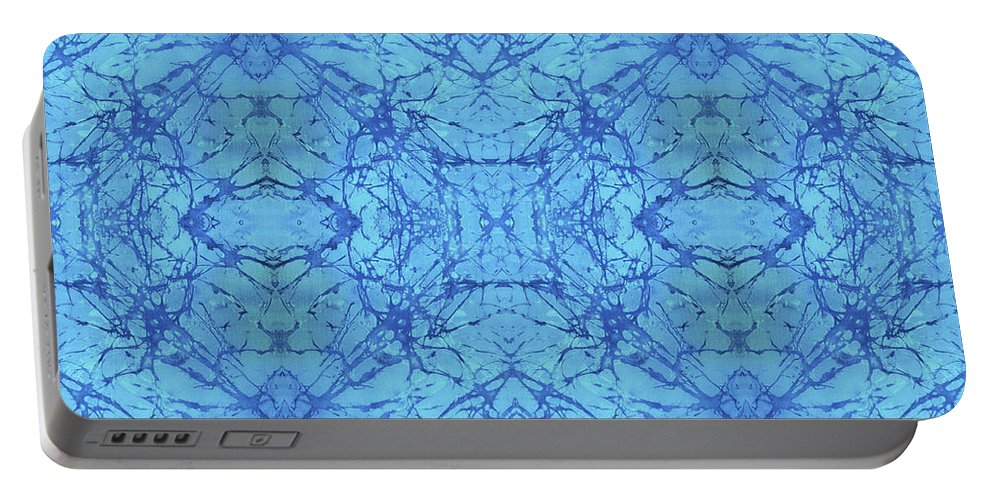 Blue Portable Battery Charger featuring the painting Blue Water Batik Tiled by Sue Duda